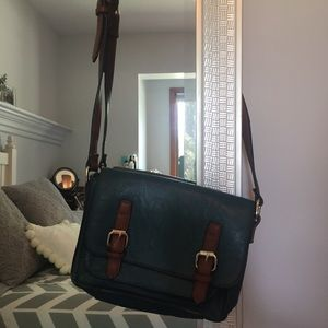 Teal and Brown Over The Shoulder Crossbody Purse
